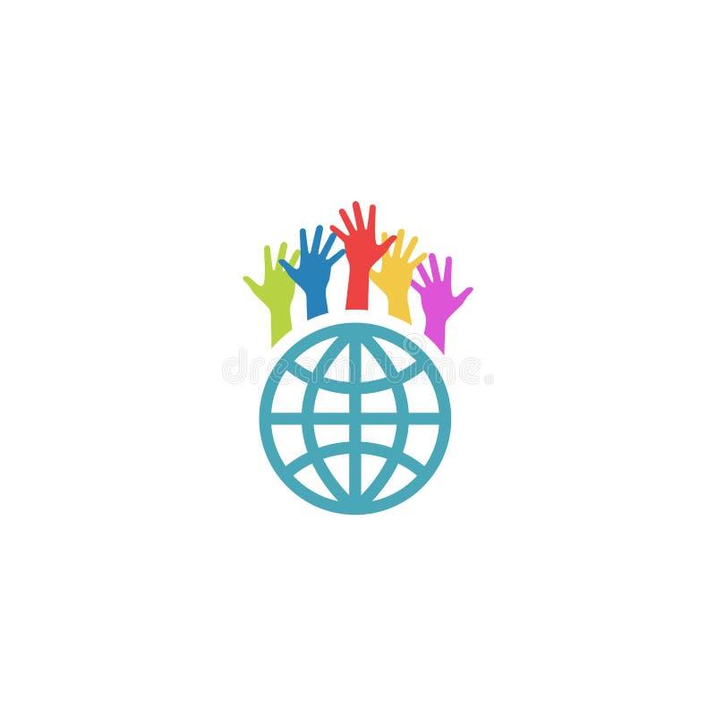 Globo e mãos coloridas acima, logotipo voluntário da caridade do modelo ilustração royalty free