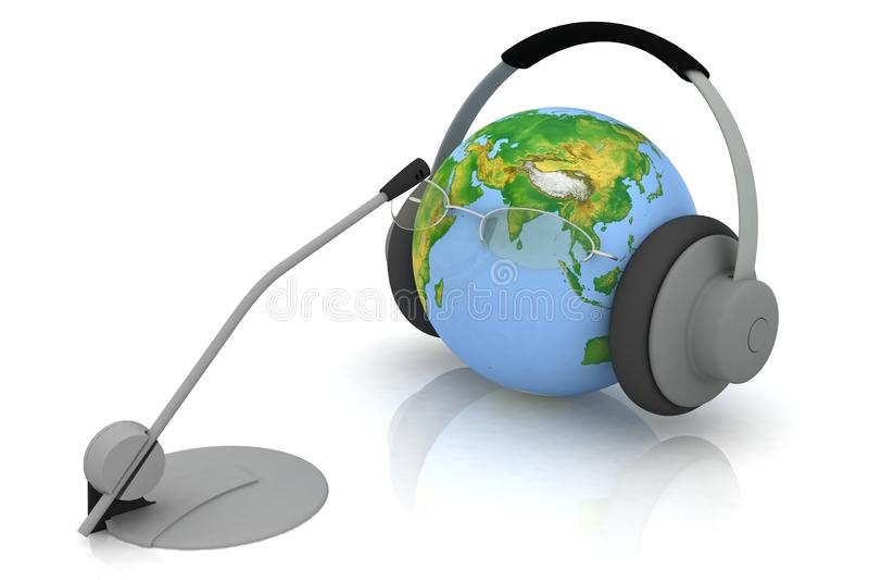 Globo e microfone ilustração stock