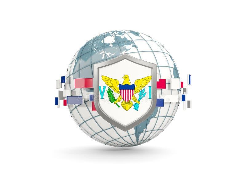 Globo e schermo con la bandiera delle Isole Vergini che noi abbiamo isolato su briciolo illustrazione vettoriale