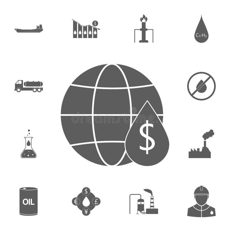globo e uma gota do óleo no ícone do custo Grupo detalhado de ícones do óleo Sinal superior do projeto gráfico da qualidade Uma d ilustração royalty free