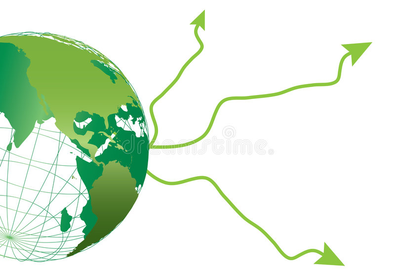 Globo ecologico con le frecce illustrazione di stock