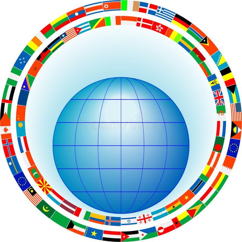 Globo em um frame das bandeiras ilustração do vetor