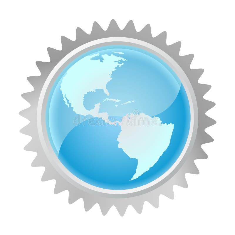 Globo en engranaje ilustración del vector