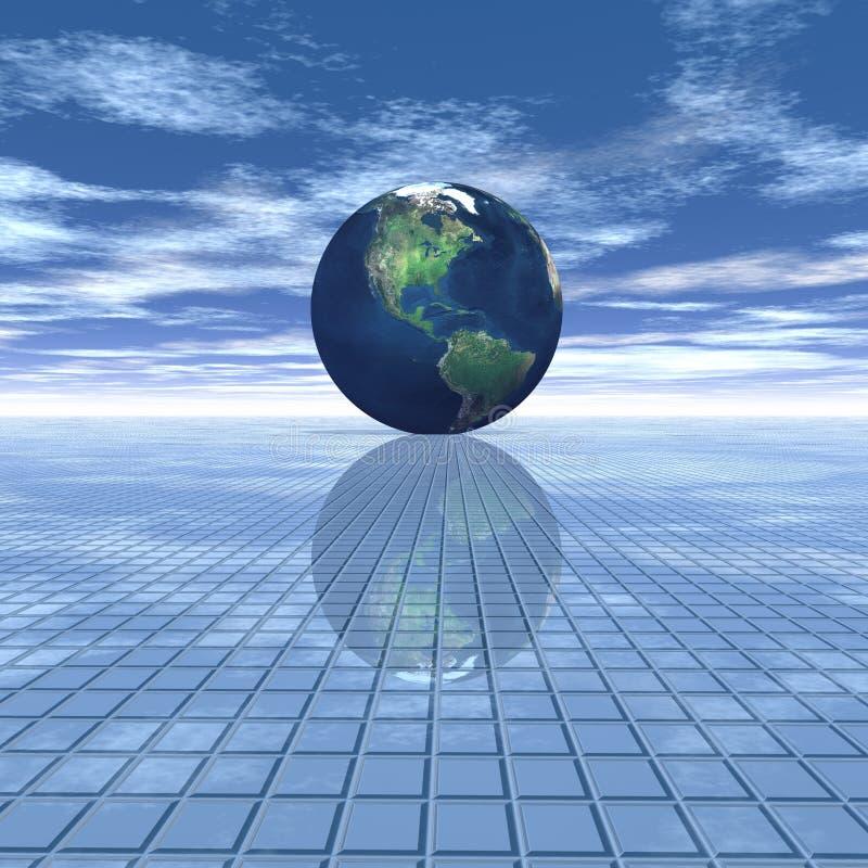 Globo en fondo de la raya ilustración del vector