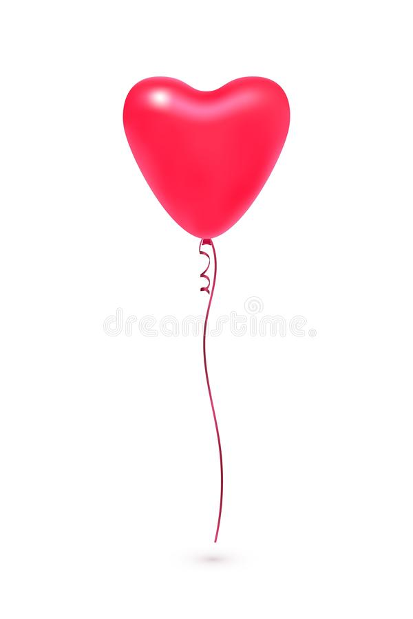 Globo en forma de corazón coralino rojo del vector en blanco stock de ilustración