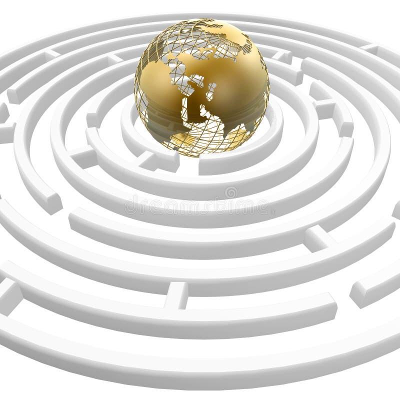 Globo en laberinto ilustración del vector