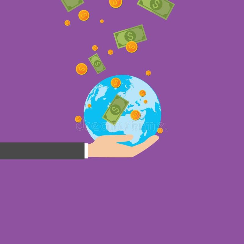 Globo en manos del negocio, dinero, vector libre illustration