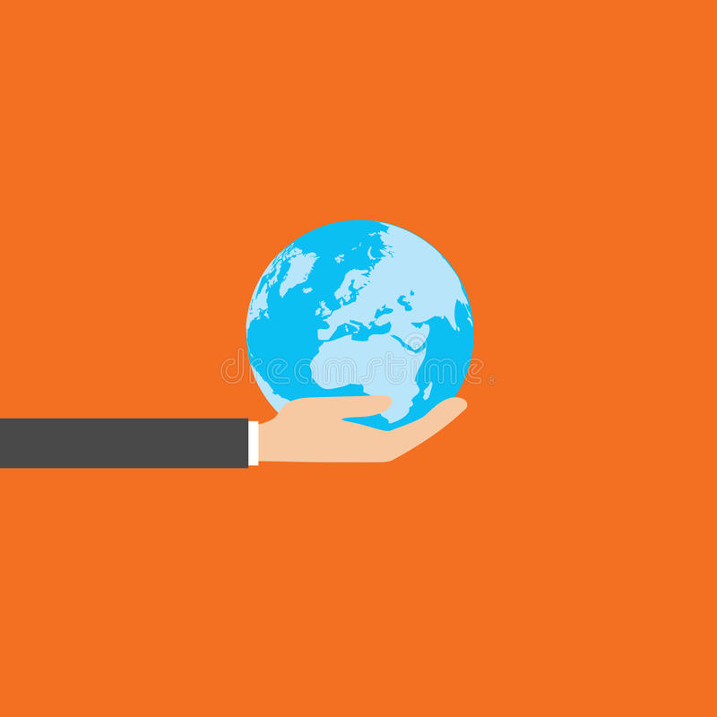 Globo en manos del negocio, vector libre illustration