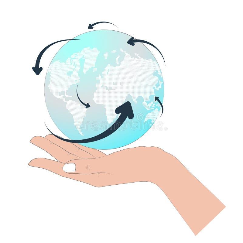 Globo en una mano ilustración del vector