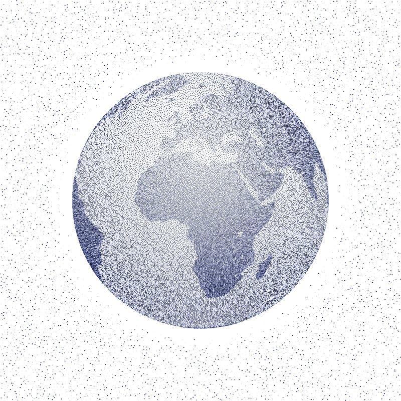 Globo estilizado punteado vector del mundo Vista de África ilustración del vector