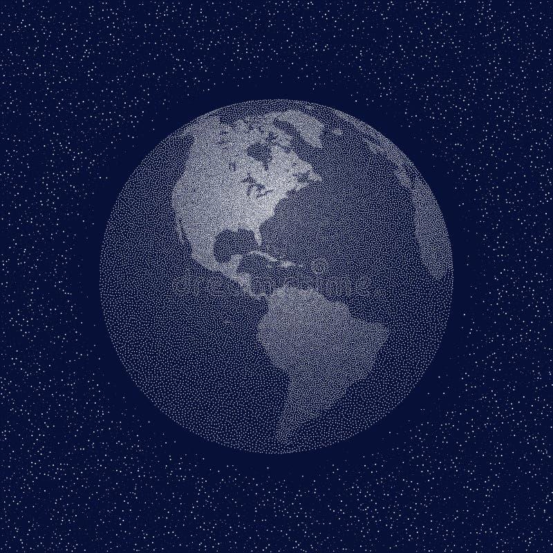 Globo estilizado punteado vector del mundo Vista de América stock de ilustración