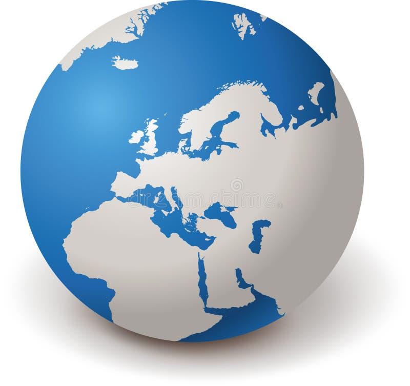 GLOBO EUROPA 3d del MUNDO ilustración del vector