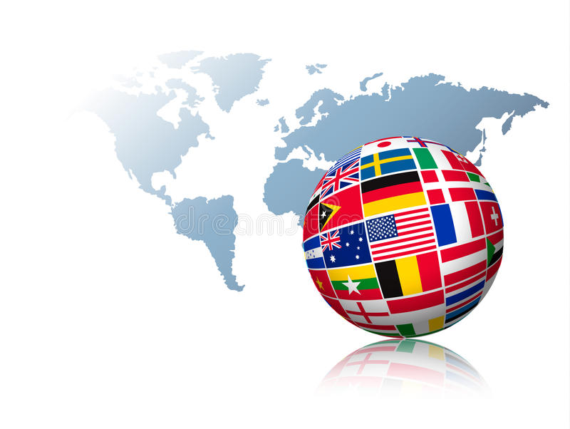 Globo feito fora das bandeiras em um fundo do mapa do mundo ilustração royalty free