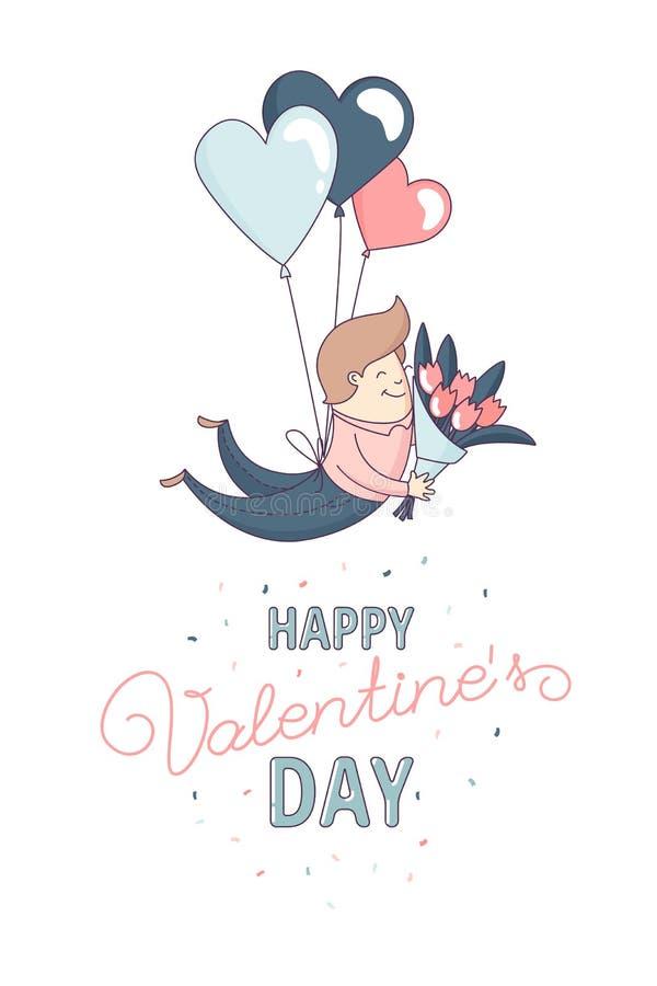 Globo feliz del corazón del vuelo del carácter masculino de la tarjeta de felicitación del día del ` s de la tarjeta del día de S libre illustration
