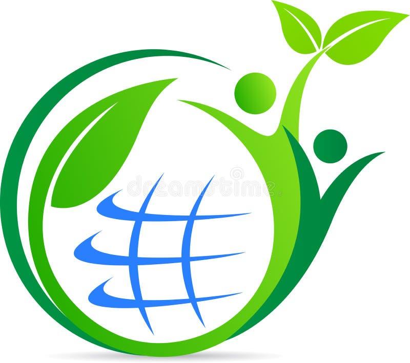 Globo feliz do verde dos povos ilustração do vetor