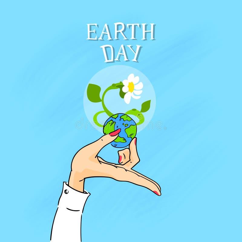 Globo femenino del control de las manos del Día de la Tierra ilustración del vector