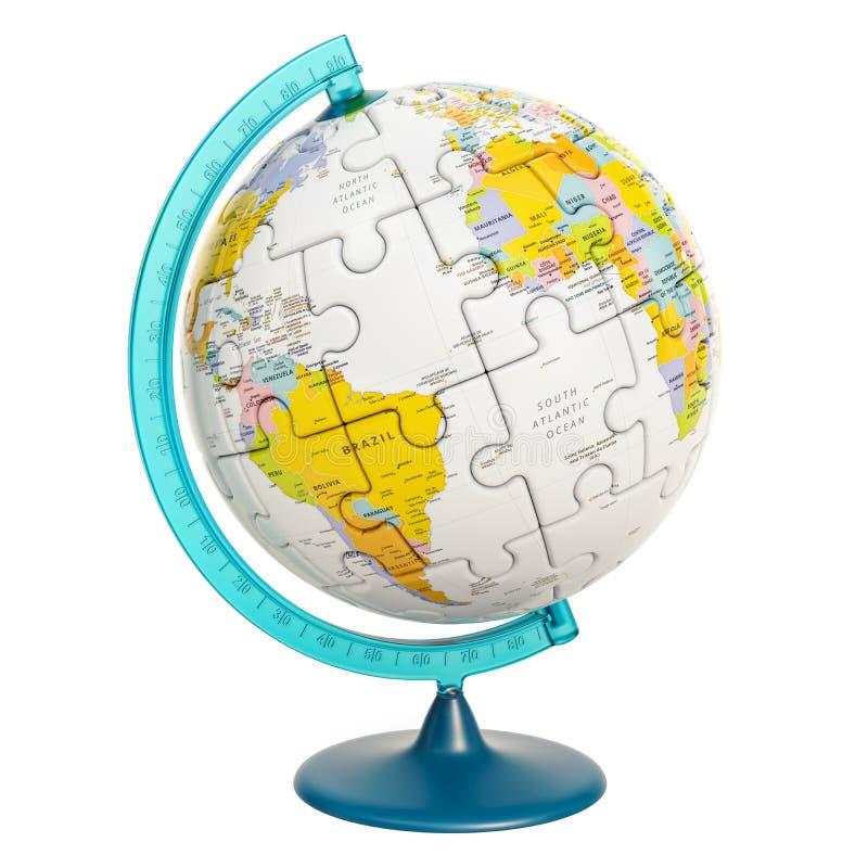 Globo geografico di pianeta Terra dal puzzle rappresentazione 3d illustrazione vettoriale