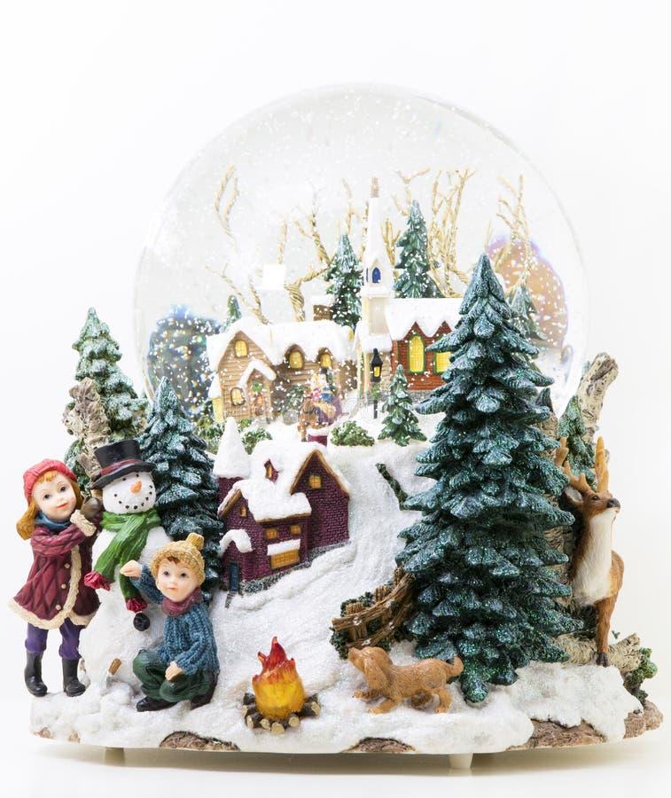 Globo grande da neve com luz fotos de stock royalty free