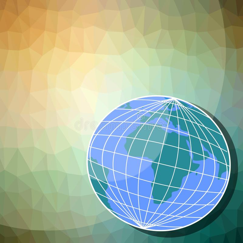 Globo - hemisfério oriental no fundo do triângulo ilustração royalty free