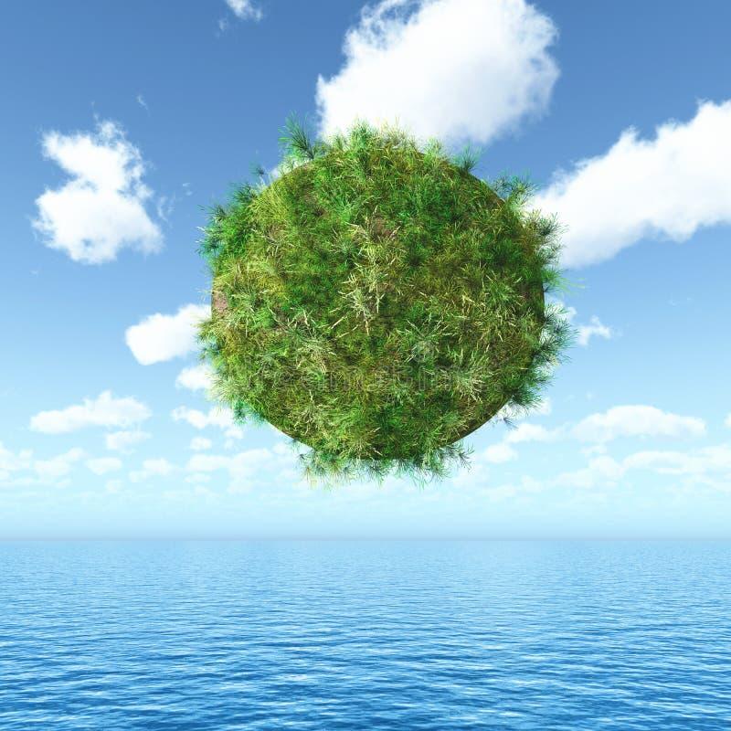 globo herboso 3D que flota sobre un paisaje del océano stock de ilustración