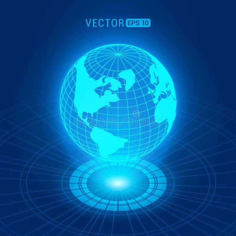Globo holográfico com continentes ilustração stock