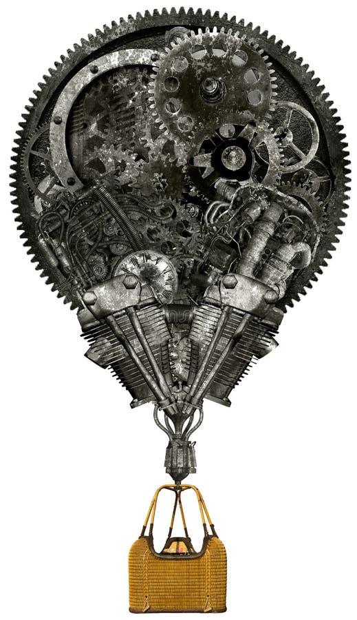 Globo industrial del aire caliente de Steampunk aislado foto de archivo