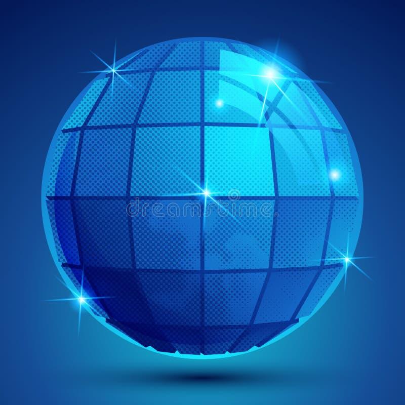 Globo instantâneo azul plástico Grained, figura geométrica do glisten eps10 ilustração royalty free
