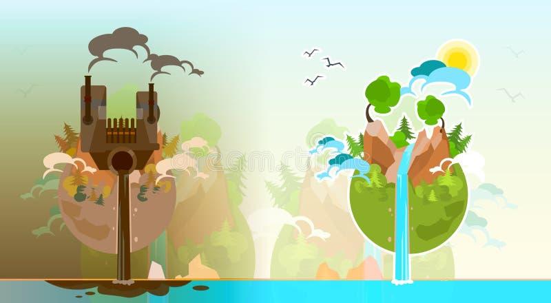 Globo limpio y contaminado del planeta de la tierra libre illustration