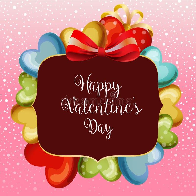 Globo lindo del amor de la tarjeta de la nieve de la tarjeta del día de San Valentín stock de ilustración