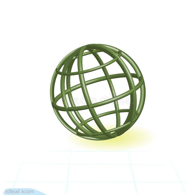 Globo linear del verde del icono 3d Tubos verdes en la forma del planeta Ilustración del vector ilustración del vector