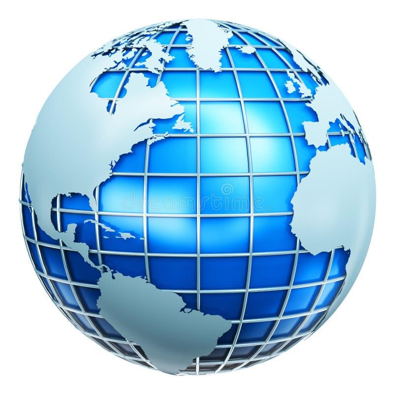 Globo metálico azul de la tierra stock de ilustración