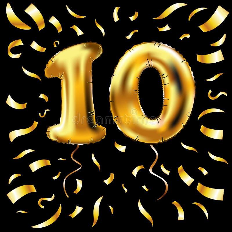 Globo metálico del número diez de oro 10 globos del oro de la decoración del partido Muestra del aniversario para el día de fiest libre illustration