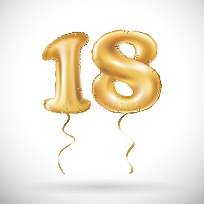 Globo metálico dieciocho de oro del número 18 del vector Globos de oro de la decoración del partido Muestra del aniversario para  ilustración del vector