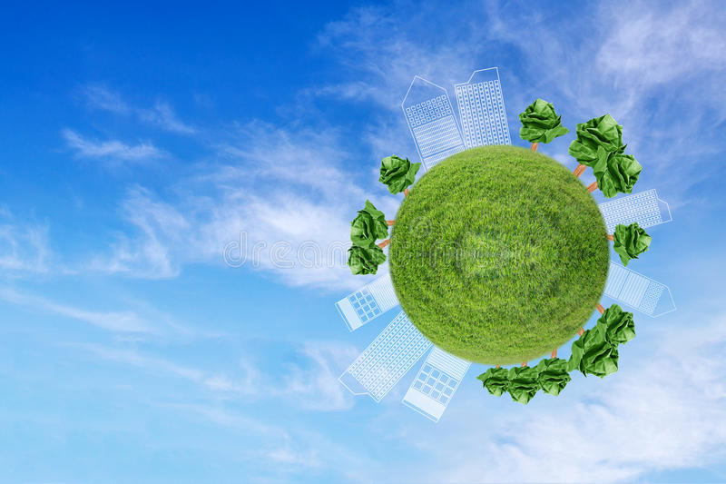 globo miniatura che mostra l'ambiente con la carta dell'albero fotografie stock
