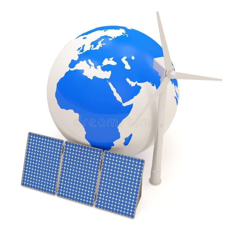 Globo miniatura con el molino de viento y los paneles solares stock de ilustración