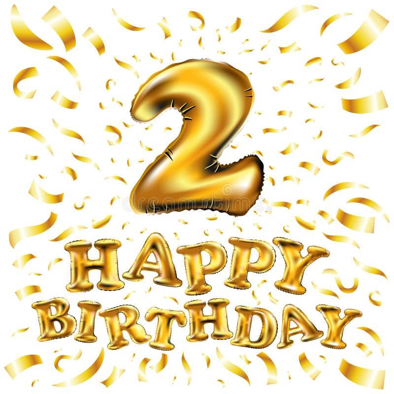 Globo número 2 dos del feliz cumpleaños Texto de oro de la fuente del oro 3D del helio del globo del alfabeto realista del ABC El stock de ilustración