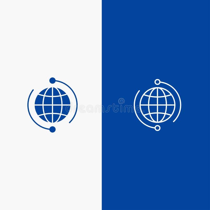Globo, negócio, azul contínuo conectam, dos conexões, o global, do ícone azul da linha e do Glyph de bandeira do ícone contínuo d ilustração royalty free