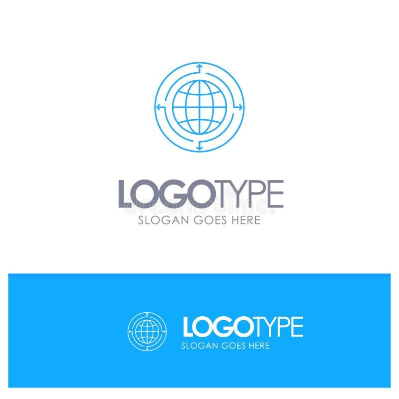 Globo, negocio, comunicación, conexión, global, logotipo azul del esquema del mundo con el lugar para el tagline ilustración del vector