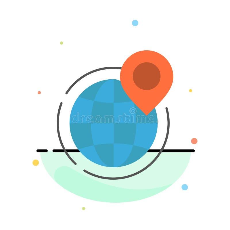 Globo, negocio, global, oficina, punto, plantilla plana del icono del color del extracto del mundo ilustración del vector