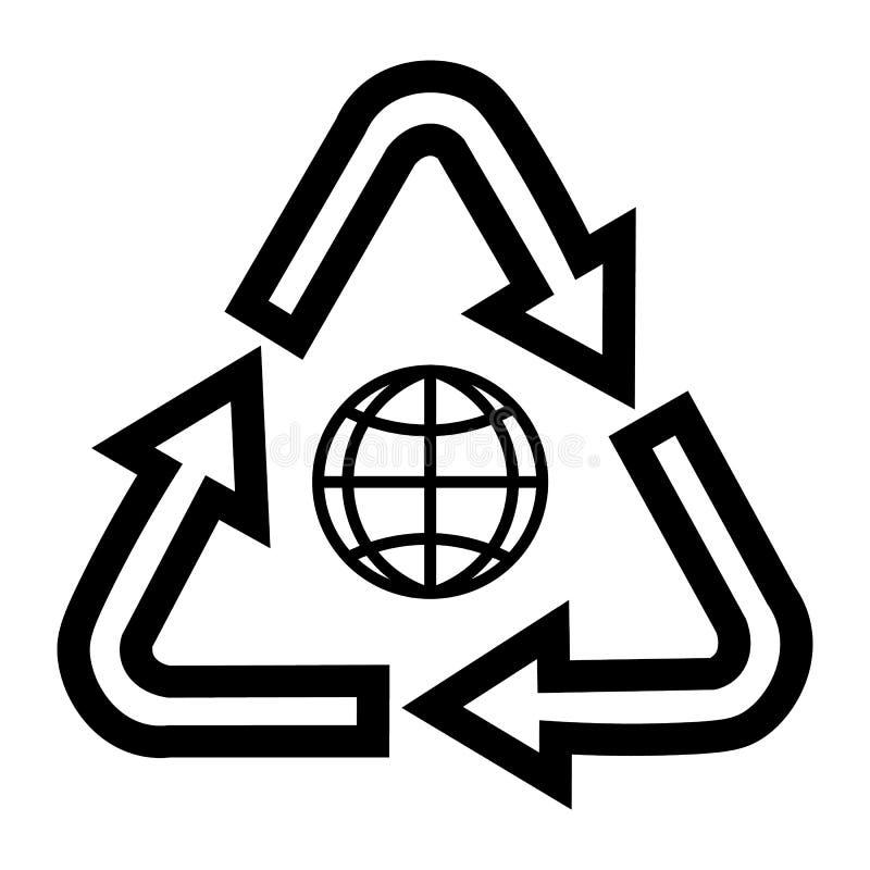 Globo no assunto da ecologia e da reciclagem Elementos para o conceito e o design web móveis ilustração stock