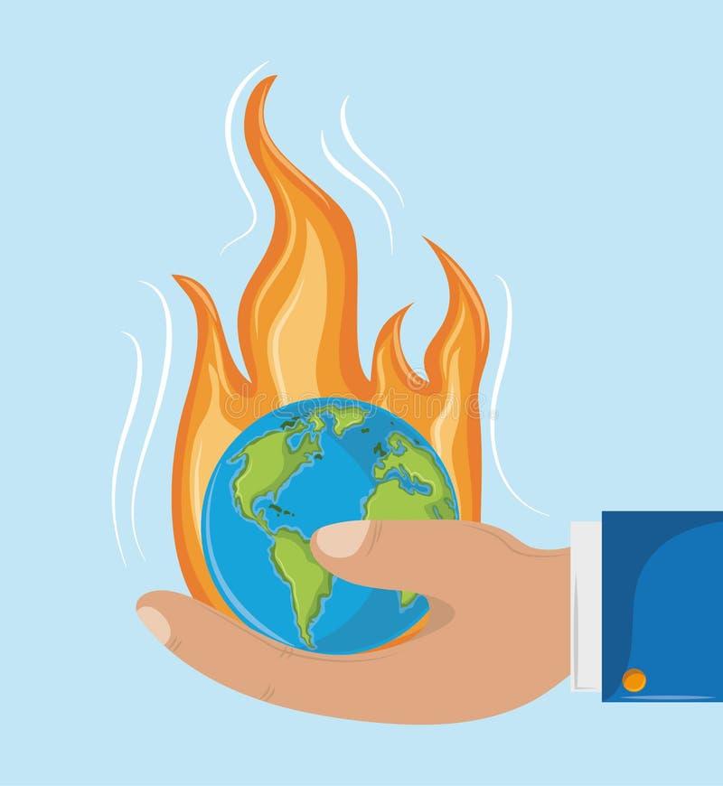 Globo no fogo que guarda à mão ilustração do vetor