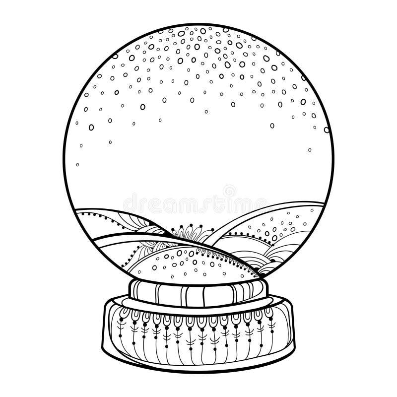 Globo o palla di neve vuoto della neve del profilo di vettore con i fiocchi di neve di caduta nel nero isolati su fondo bianco De illustrazione di stock