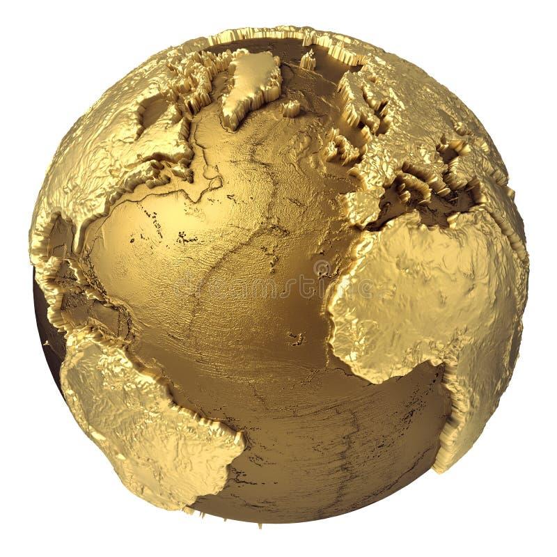 Globo Oceano Atlântico do ouro ilustração stock