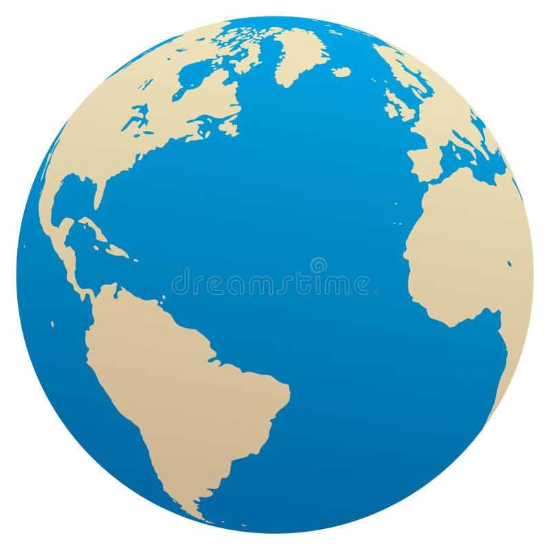 Globo/Oceano Atlântico do vetor ilustração stock