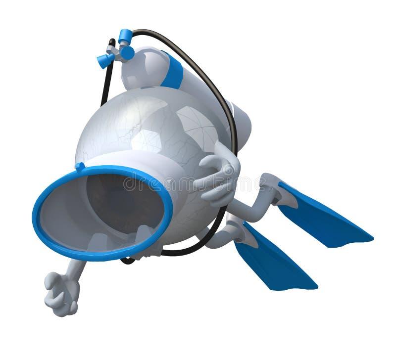 Globo ocular com óculos de proteção e aletas do mergulho ilustração royalty free