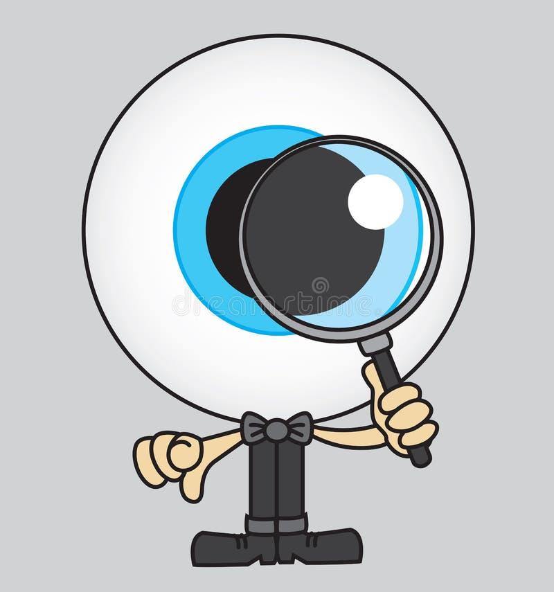 Globo ocular enorme que olha através de uma lupa ilustração stock
