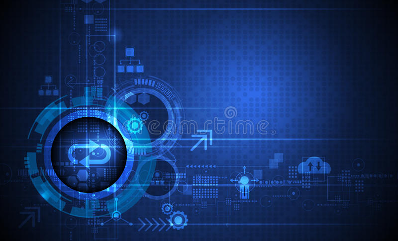 Globo ocular futurista abstrato na placa de circuito, no computador alto da ilustração e na tecnologia de comunicação no fundo az