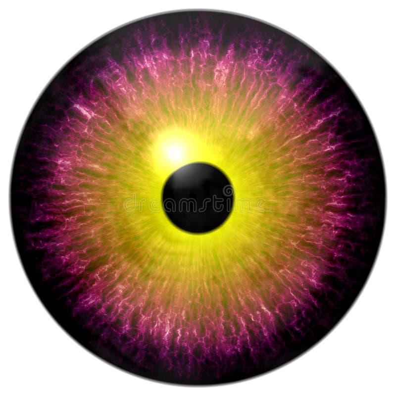 Globo ocular roxo e redondo bonito do amarelo 3d o Dia das Bruxas ilustração do vetor