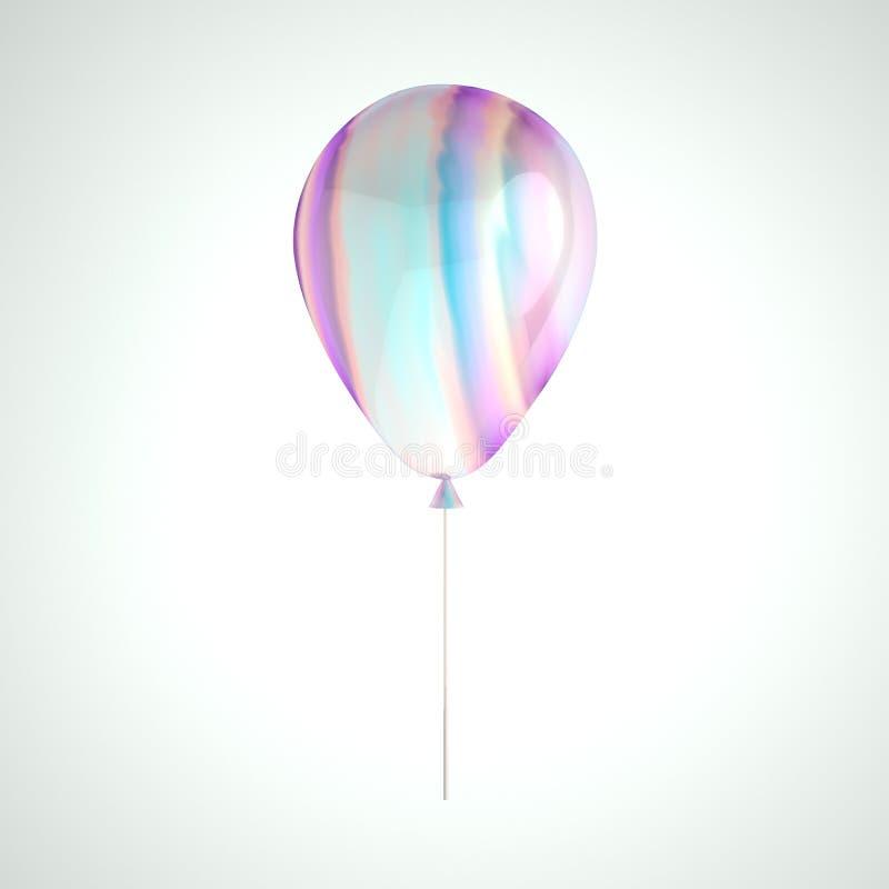 Globo olográfico de la hoja de la irisación aislado en fondo gris Elemento realista de moda del diseño 3d para el cumpleaños, pre stock de ilustración