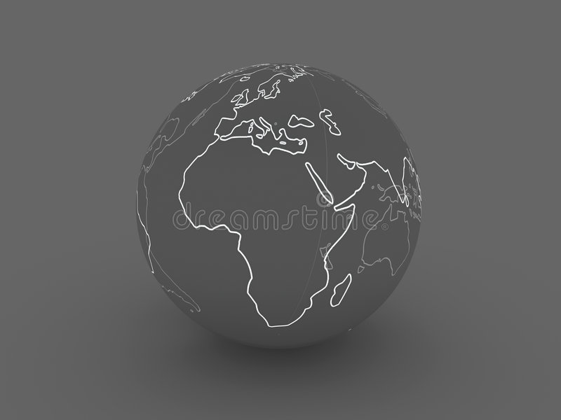 Globo oscuro - Europa, África ilustración del vector